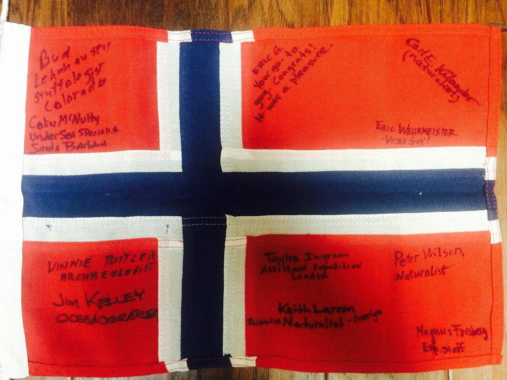 Norway Flag including signatures of Naturalists and staff on our expedition.